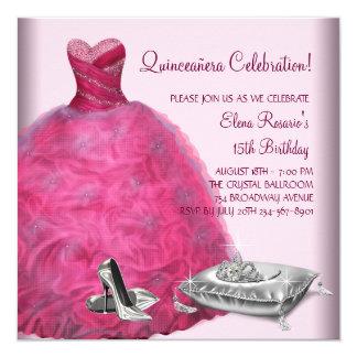 El tacón alto rosado del vestido de bola calza invitación 13,3 cm x 13,3cm