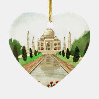 El Taj Mahal Adorno Navideño De Cerámica En Forma De Corazón