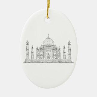 el Taj Mahal Adorno Navideño Ovalado De Cerámica