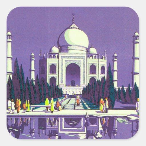 ~ el Taj Mahal de Agra Pegatina Cuadrada