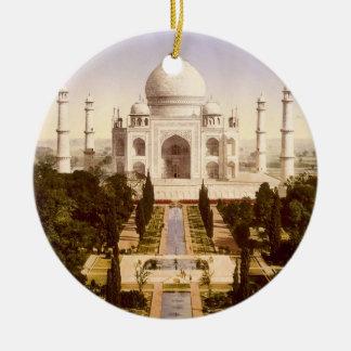 El Taj Mahal en Agra la India Adorno Navideño Redondo De Cerámica