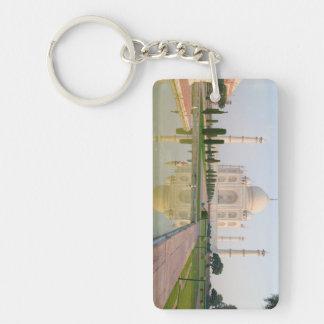 El Taj Mahal pacífico reservado en la salida del Llavero Rectangular Acrílico A Doble Cara