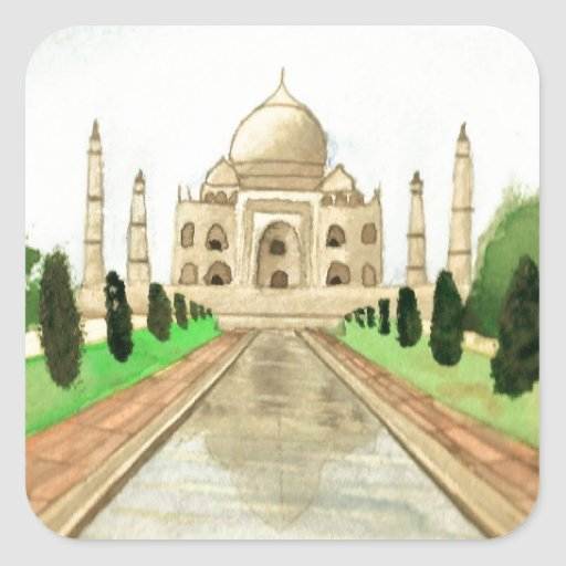 El Taj Mahal Pegatina Cuadrada