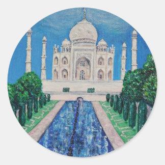 El Taj Mahal Pegatina Redonda