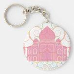 El Taj Mahal rosado Llavero Redondo Tipo Pin