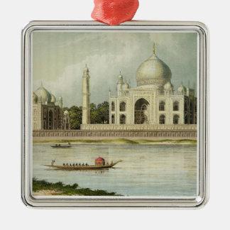 El Taj Mahal, tumba del emperador Shah Jehan y Adorno Navideño Cuadrado De Metal