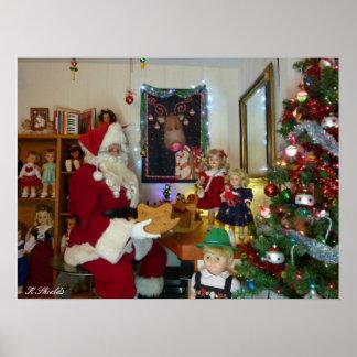 El taller de Santa con las muñecas y los juguetes  Poster