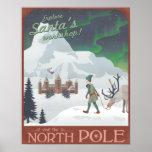 El taller de Santa de la visita en el Polo Norte Poster