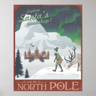El taller de Santa de la visita en el Polo Norte Póster