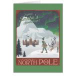 El taller de Santa de la visita en el Polo Norte Tarjeta De Felicitación