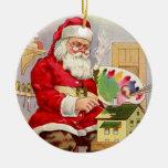 El taller de Santa del vintage Ornamentos De Navidad