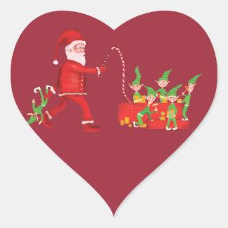 El taller de Santa Pegatina En Forma De Corazón