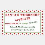 El taller de Santa personalizado aprobado y examin Rectangular Pegatina