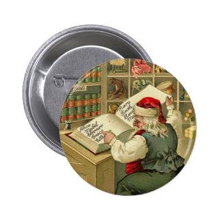 El taller de un Santa de las Felices Navidad Pin