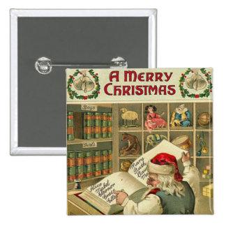 El taller de un Santa de las Felices Navidad Pins
