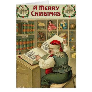 El taller de un Santa de las Felices Navidad Tarjeta De Felicitación