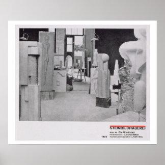 El taller del Carver de piedra, de los talleres de Poster