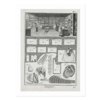 El taller y el material de un fabricante de la tarjeta postal