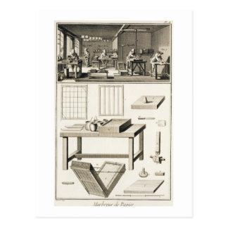 El taller y las herramientas de un marmolista de tarjetas postales