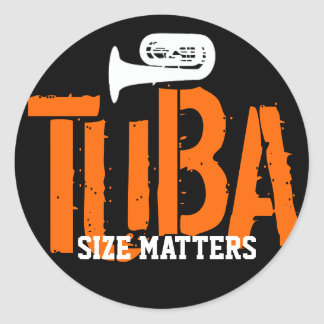 El tamaño de la TUBA importa alrededor del Pegatina Redonda
