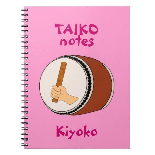 El tambor de Taiko observa teclear japonés Spiral Notebooks