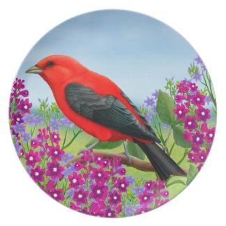 El Tanager de escarlata en jardín florece la placa Plato Para Fiesta