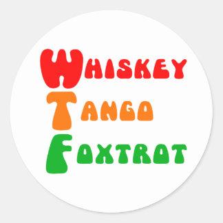 El tango del whisky de WTF Foxtrot diversión de Pegatina Redonda