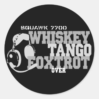 El tango del whisky Foxtrot - humor de la aviación Pegatina Redonda