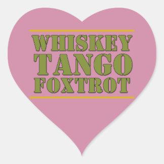 El tango del whisky Foxtrot lema de los militares Pegatina En Forma De Corazón