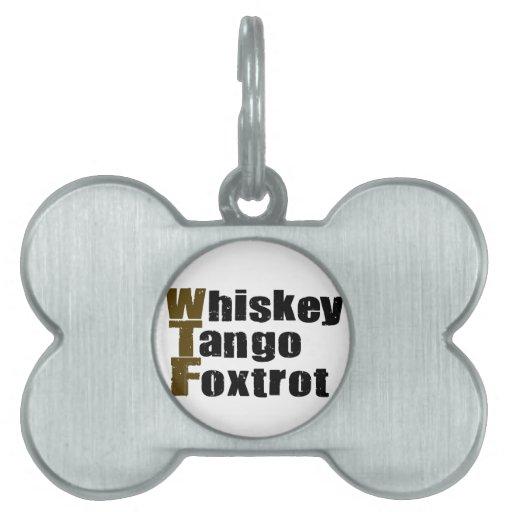 El tango del whisky Foxtrot Placa De Nombre De Mascota