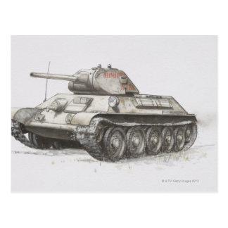 El tanque de ejército ruso T-34, vista lateral Postal