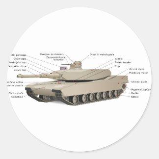 El tanque de M1 Abrams Pegatina Redonda