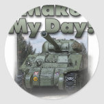 ¡El tanque de Sherman - haga mi día! Pegatina Redonda
