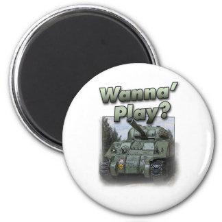 ¿El tanque de Sherman - quiera jugar? Imán Redondo 5 Cm