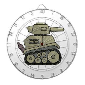 El tanque del dibujo animado tablero dardos