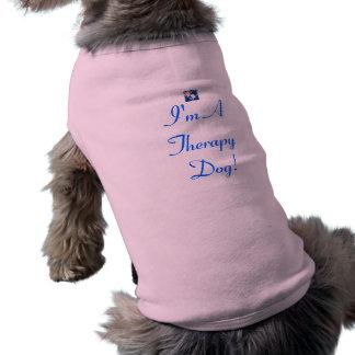 El tanque del perro de la terapia en rosa playera sin mangas para perro