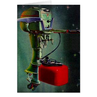 El tanque ideal del rojo del motor del barco de pe tarjeta de felicitación