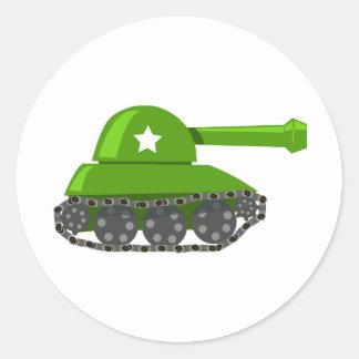 El tanque lindo del dibujo animado pegatinas redondas