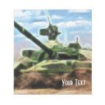 El tanque militar soviético abstracto T-72 Bloc De Notas