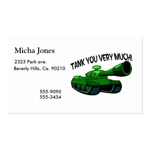 El tanque usted mucho tarjetas de negocios