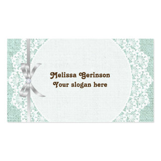 El tapetito blanco con el cordón y la verde menta tarjetas de visita