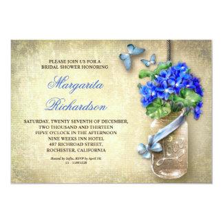 el tarro de albañil con la ducha flor-nupcial azul invitación 12,7 x 17,8 cm