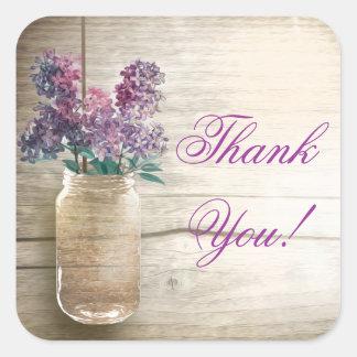 el tarro de albañil con las lilas le agradece los pegatinas cuadradas