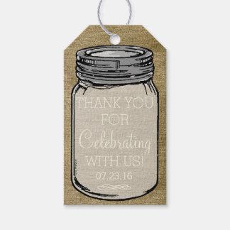 El tarro de albañil del vintage marca el boda etiquetas para regalos
