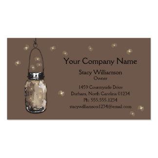 El tarro de albañil del vintage y las luciérnagas  plantillas de tarjeta de negocio