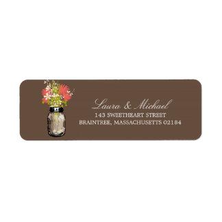 El tarro de albañil florece el remite del   etiquetas de remite