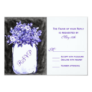 """El tarro de albañil florece las tarjetas de RSVP Invitación 3.5"""" X 5"""""""