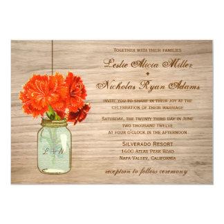 El tarro de albañil rústico del país florece el invitación 12,7 x 17,8 cm