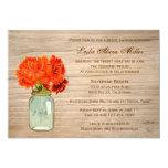 El tarro de albañil rústico del país florece la invitación 12,7 x 17,8 cm