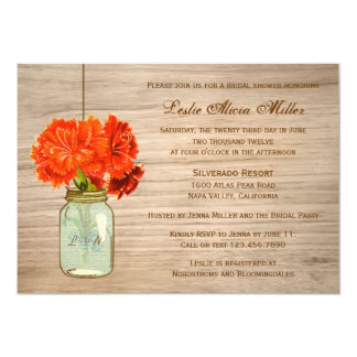 El tarro de albañil rústico del país florece la invitaciones personalizada